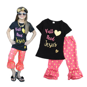 Yall Need Jesus Girls 2pc Outfit - MyChristy's