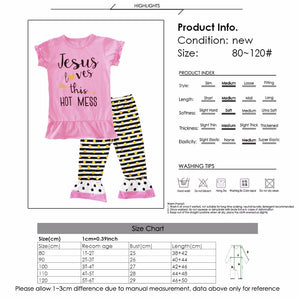 Girl's  Jesus Loves This Hot Mess Striped Pants Ruffle Outfit 2pcs Set 1t-6t - MyChristy's
