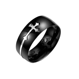 Creative Cross Pattern Retro Cross Ring For Men or Women Black Color Stainless Steel - MyChristy's