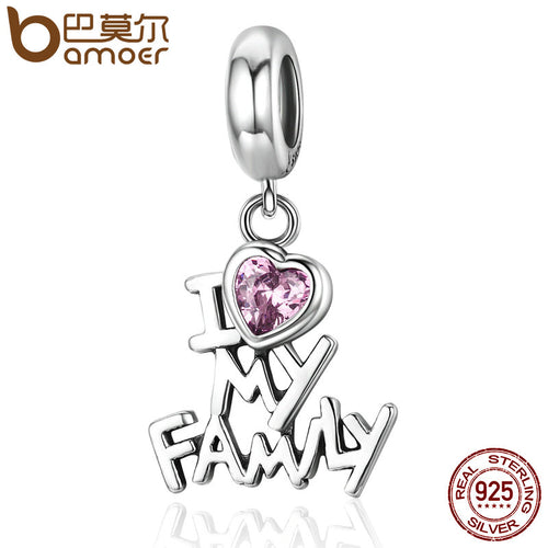 Genuine 925 Sterling Silver I Love My Family Heart Dangle Charm - MyChristy's
