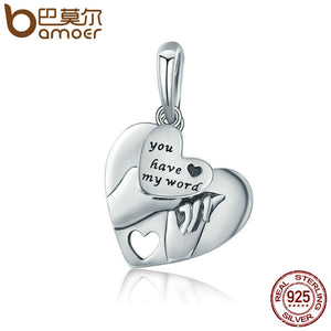 Authentic 925 Sterling Silver Classic Heart Promise Pendant Charm - MyChristy's