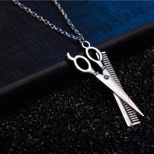 Silver Pendant Necklace Barber Scissors - MyChristy's