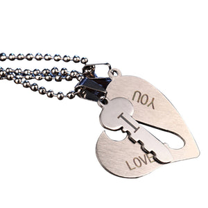 I Love You Heart and Key Chain Necklace - MyChristy's