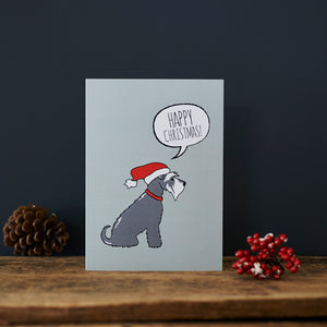 SALE- Grey Schnauzer Christmas Card