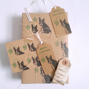 SALE- Frenchie Christmas gift wrapping set