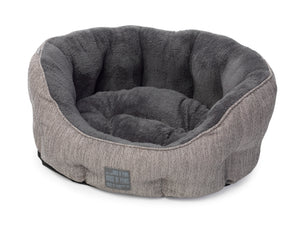 Grey Hessian & Plush Oval Bed