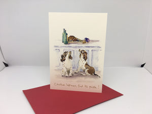 "Christmas Card- Spaniel ""Christmas Left Overs, Find the Pickle!"""