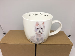 Bone China Mug- Who's for Tennis? Westie