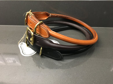 Handmade Rolled Leather Collar