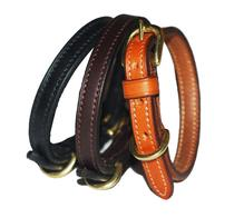 Strong Flat leather dog collar with solid brass fittings