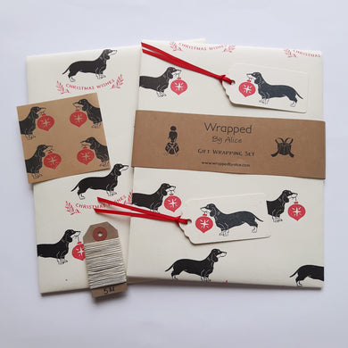 SALE- Dachshund Christmas wrapping paper set- Cream