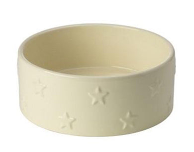 Ceramic cream dog bowl