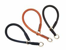 Handmade rolled Soft European leather Slip dog collar