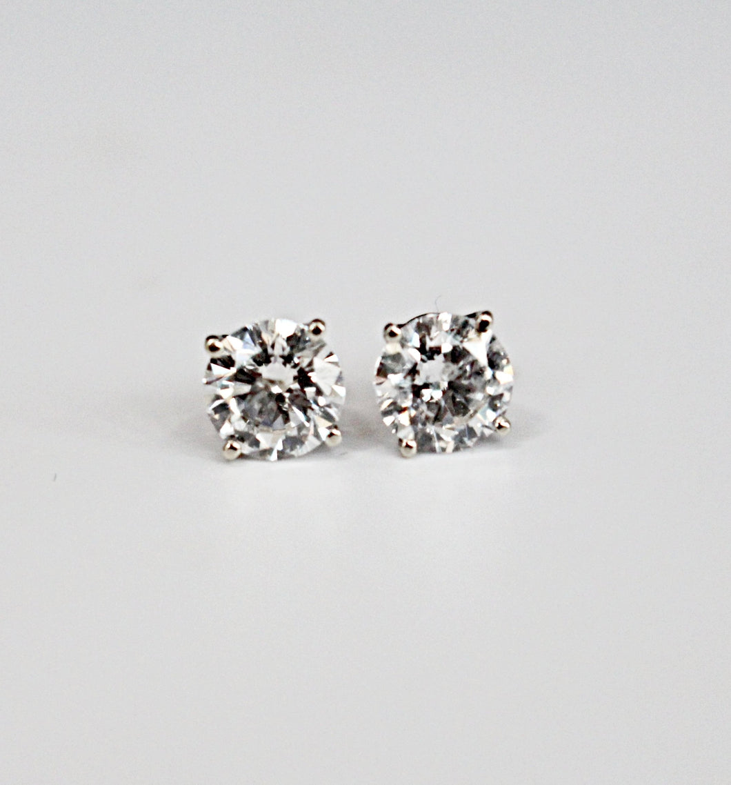 1.92 Round Brilliant Cut Diamond Stud Earrings