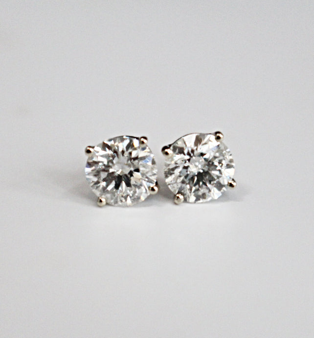 2.04 Round Brilliant Cut Diamond Stud Earrings