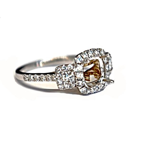 Diamondaire 3 Stone Halo Engagement Ring with a Two-Tone Undercarriage