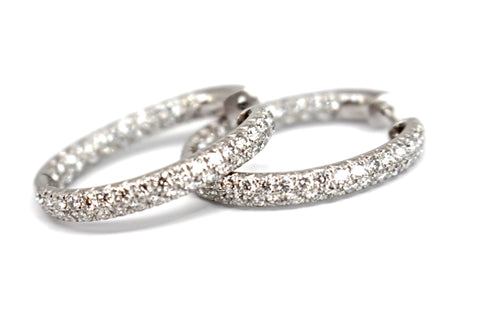 3ct inside outside diamond hoop earrings