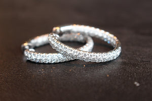 18kt white gold oval diamond hoop earrings