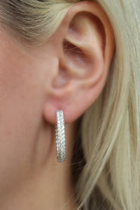 3ct French Set diamond inside outside hoop earrings
