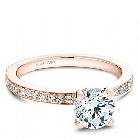 rose gold shared prong engagement ring