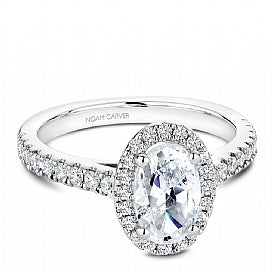 Shared Prong Halo Engagement Ring B034-04WM