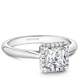Shared Prong Halo Princess Cut Engagement Ring B260-02WM