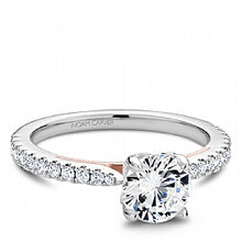 rose and white gold traditional shared prong engagement ring for round diamond