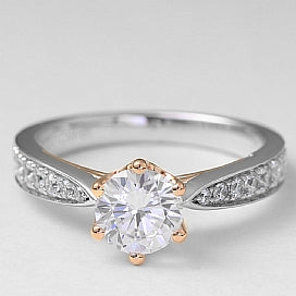 6 prong yellow gold head engagement ring