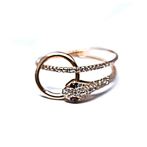 rose gold diamond snake ring