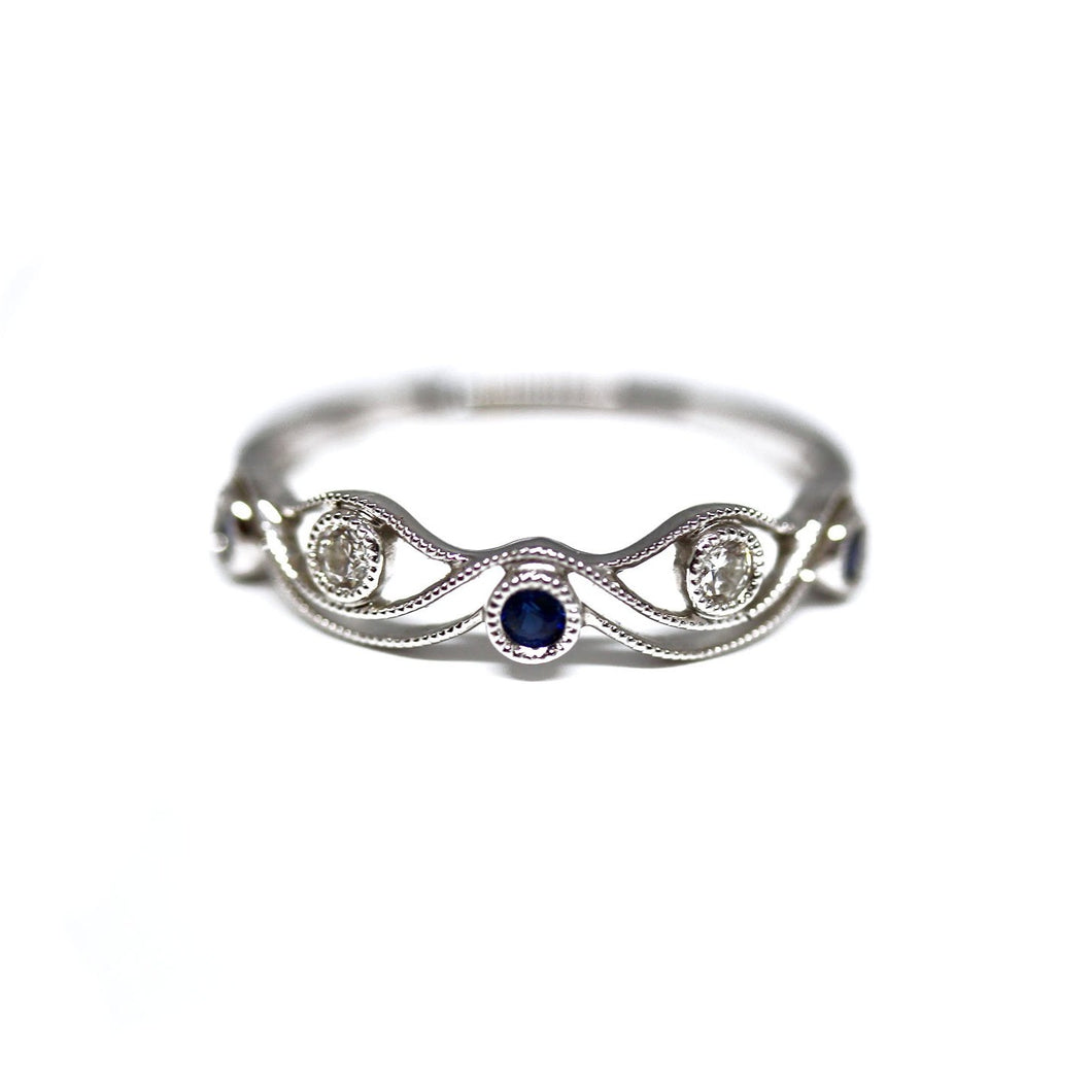 Diamondaire Round Blue Sapphire & Diamond Stackable Ring