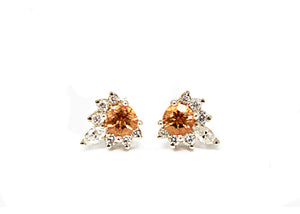 14kt Yellow Gold Diamond and Round Cut Citrine Earrings