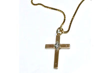 Estate Vintage Yellow Gold Diamond Cross Pendant