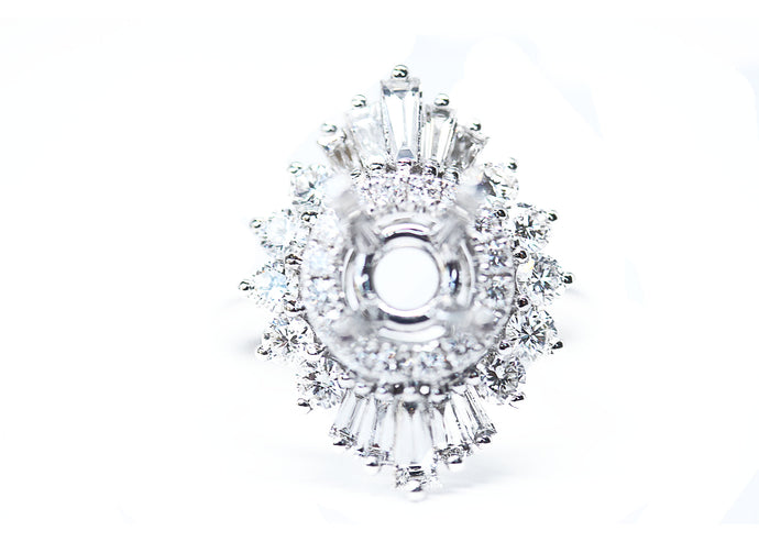 Art Deco Inspired Diamondaire Engagement Ring with Round and Baguette Diamonds