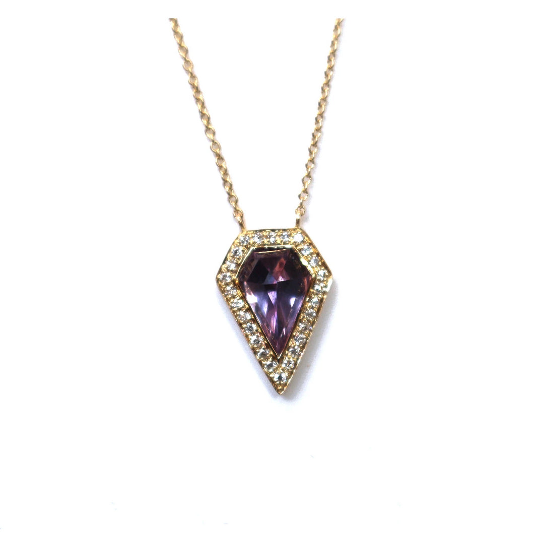 Amethyst Geometric Diamond Halo Pendant