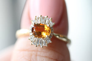 Art Deco Styled Citrine and Diamond Ring in 14kt Yellow Gold