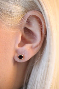 Mozambique Garnet Scroll Design Round 4-Prong Stud Earrings