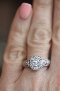 ESTATE Diamond Cluster Cushion Shaped Halo Engagement Ring in 14k White Gold