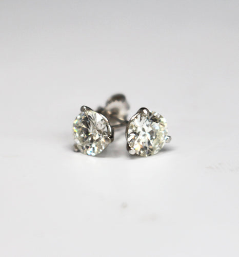 2.03 Round Brilliant Cut Diamond Stud Earrings