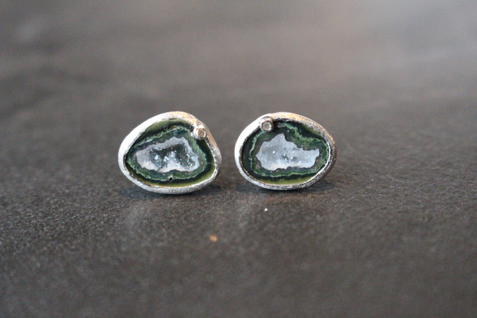 Sterling Silver and Geode Stud Earrings