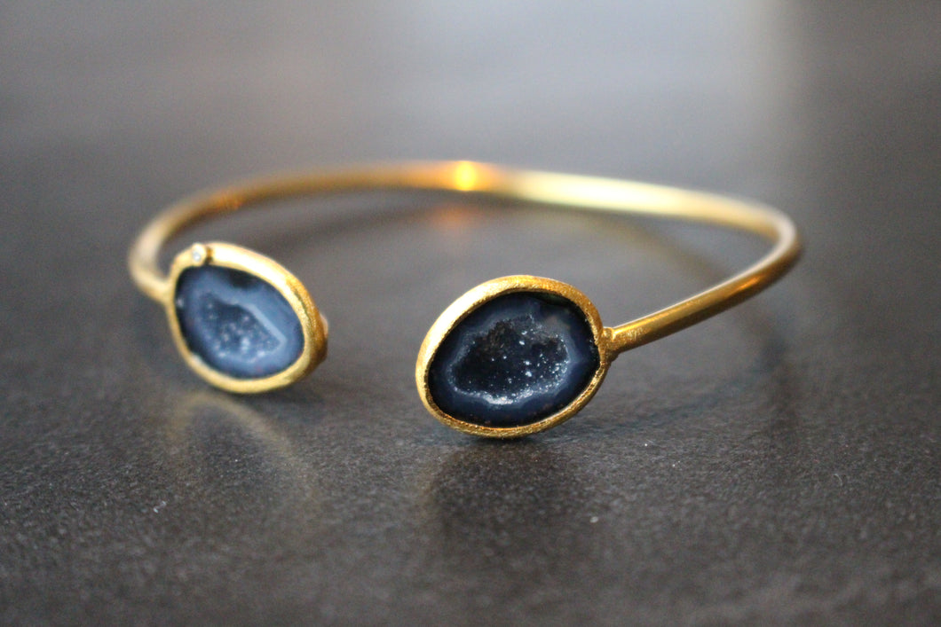 Adjustable Sterling Silver and Geode Bangle