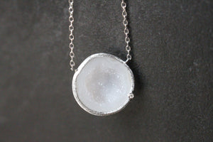 Sterling Silver and Geode Necklace