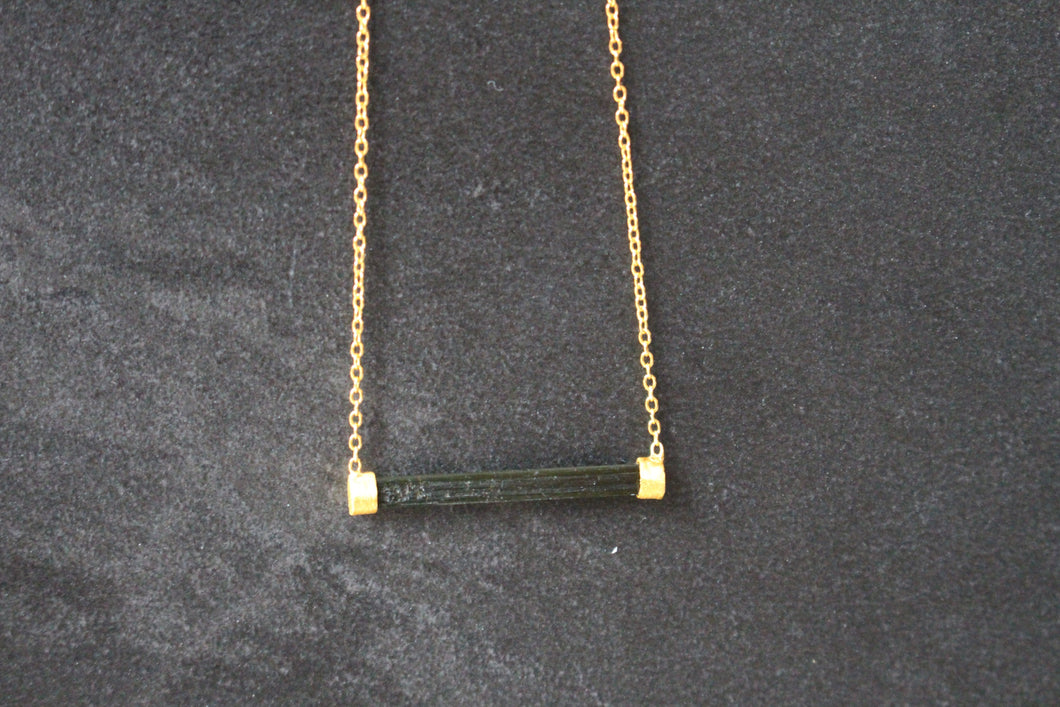 Sterling Silver and Green Tourmaline Bar Necklace
