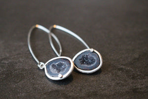 Sterling Silver and Geode Long Dangle Earrings