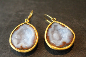Sterling Silver and Wide Geode Dangle Earrings