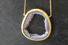 Sterling Silver & Agate Slice Long Necklace