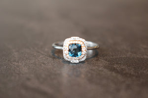 Double Halo Cushion Cut London Blue Topaz Fashion Ring