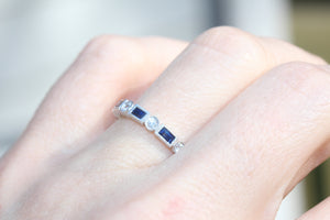 Diamondaire Vintage Styled Round Diamond and  Blue Sapphire Baguette Band