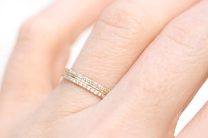 Flat Fit 2 Row Diamond Wedding Band with Center Line