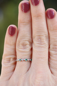 Diamondaire Round Cut Emerald and Diamond Stackable