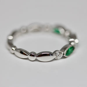 Diamondaire Marquise Cut Emerald and Round Diamond Stackable